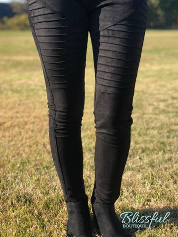 Black Faux Suede Moto Jeggings