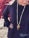 Eggplant Layered Bell Sleeve Top