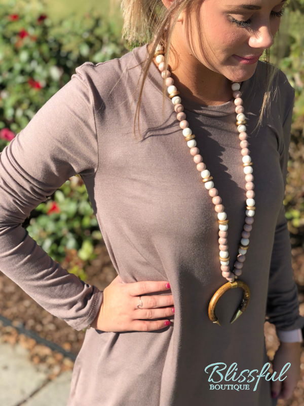 Mocha Long Sleeve Layering Tunic