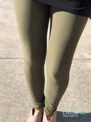 Olive Brushed Solid Leggings
