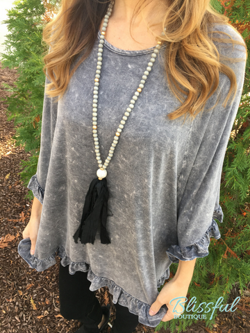 Charcoal Mineral Wash Ruffle Poncho Top