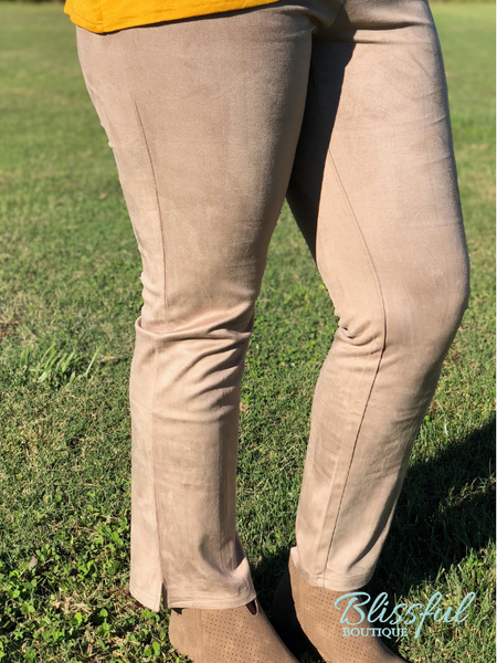 Beige Suede Fitted Pants