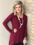 Burgundy Hi-Lo Tunic w/ Thumb Hole Sleeve