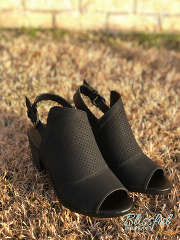 Black Perforated Peep Toe Shoe