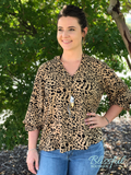 Taupe Cheetah Print V-Neck Button Down Top