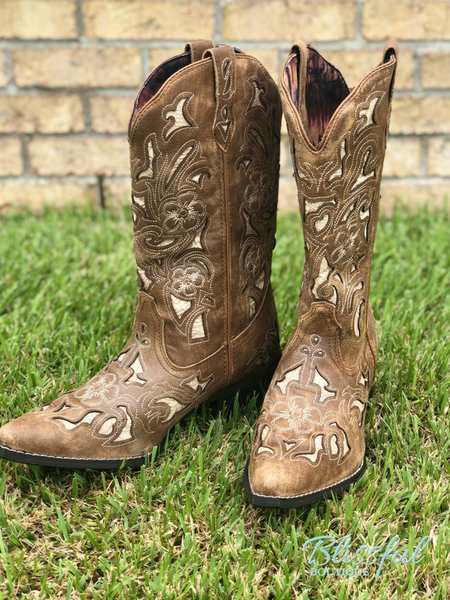 Tan Cutout & Tool Underlay Cowgirl Boots