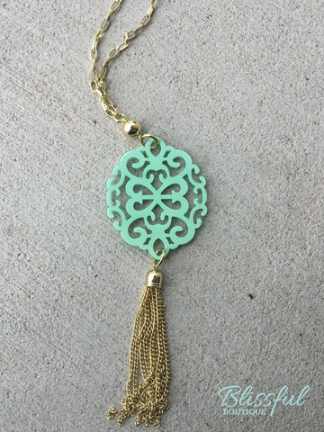Modern Damask Pendant w/ Tassel Necklace