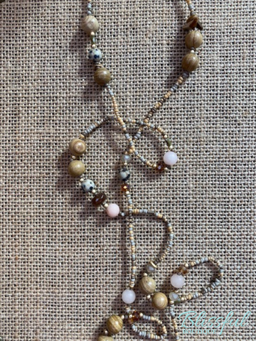 Stone Long Layered Bead Boho Necklace