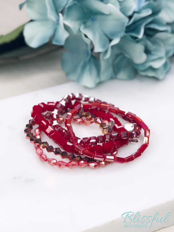 Red Bracelet Stack Set of 5