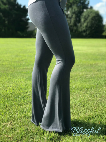 Silver Fitted Palazzo Pants w/ Button Detail