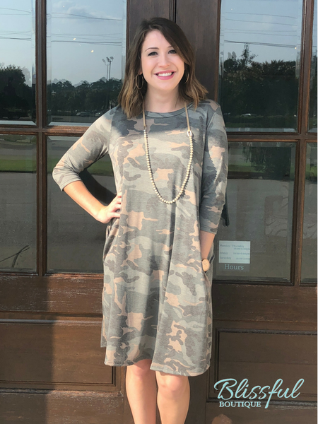 Camo 3/4 Sleeve Tee Dress