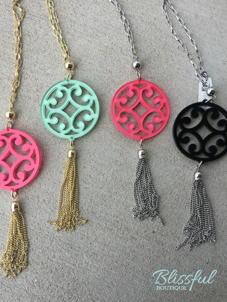 Circle Scroll Pendant with Tassel Necklace