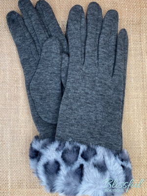Faux Fur Leopard Cuff Touch Screen Gloves