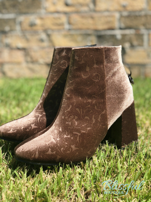 Taupe Velvet Ankle Booties