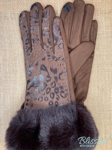Metallic Leopard Faux Fur Cuff Touch Screen Gloves