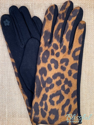 Leopard Print Touch Screen Gloves