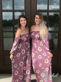 Orchid Smocked Floral Print Maxi Dress