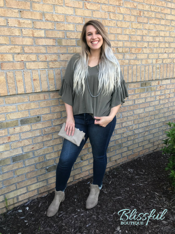 Olive V-Neck Top w/ Ruffled Sleeves and High Low Hem