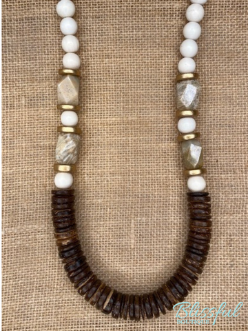 Kendan Necklace w/ Round & Flat Beads