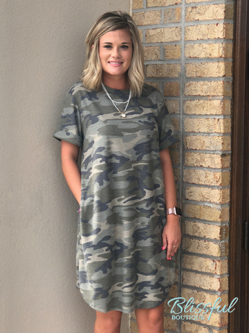 Camo Short Sleeve Tee Dress