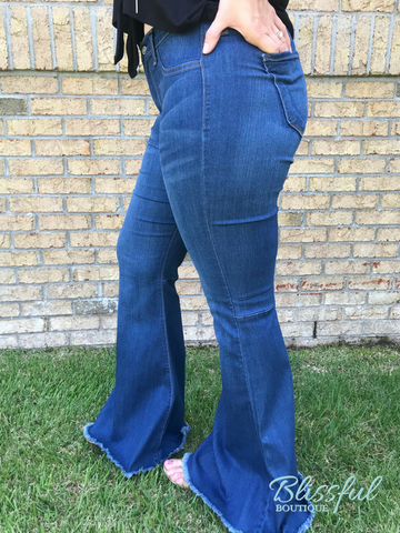 High Waist Denim Flare w/ Frayed Hem