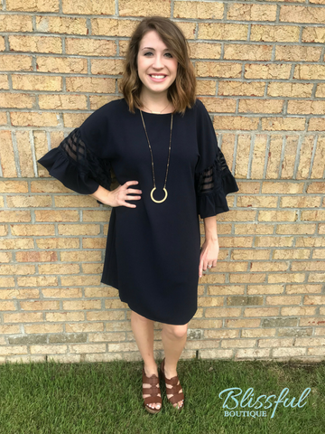 Navy Paneled Bell Sleeve Dress