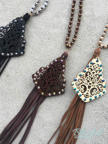 Long Beaded Necklace w/ Filigree & Tassel Pendant
