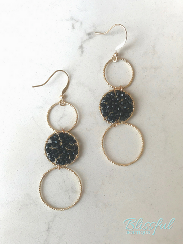 Crushed Hematite Circle Drop Earrings