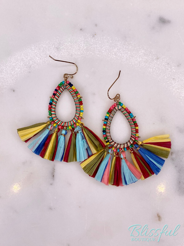 Raffia Tassel Beaded Teardrop Earrings