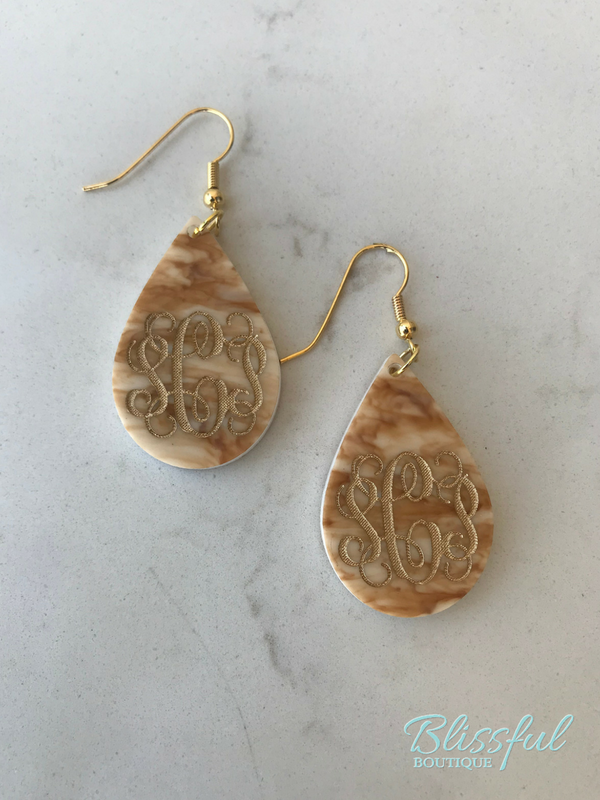 Teardrop Monogram Earrings