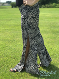 Charcoal Cheetah High Waist Palazzo Pants w/ Side Slit