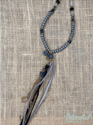 Black Stone & Tassel Necklace