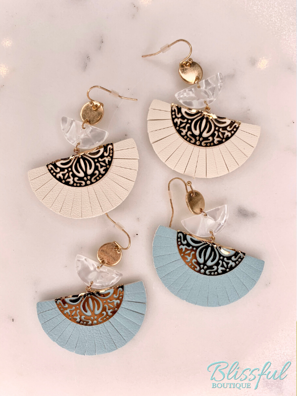 Laser Cut Leather & Metal Dangle Earrings