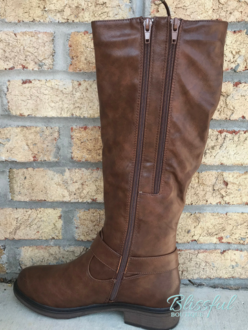New Tan Tall Lace-up Boot