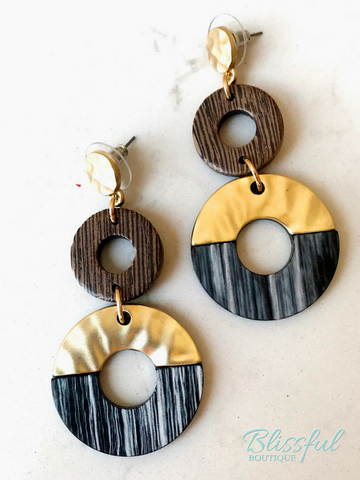 Black Acrylic & Gold Three Circle Drop Earring