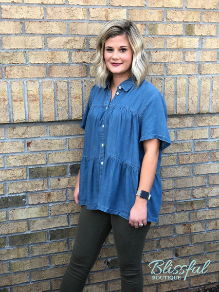 Chambray Tiered Hem Button Down Top