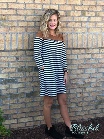 Black Stripe & Faux Suede Shoulder Dress