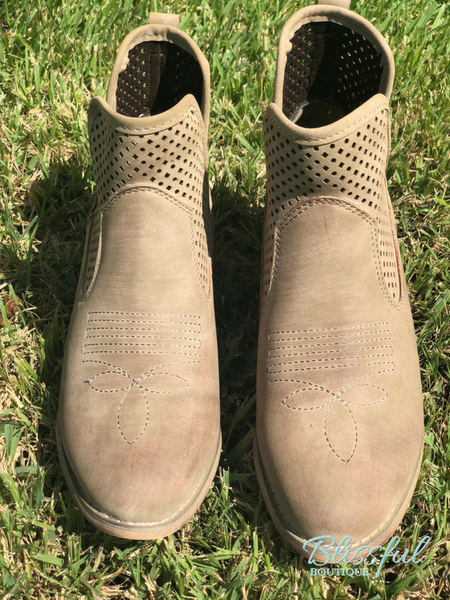 Taupe Perforated Top Bootie