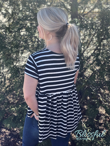 Black & White Stripe Babydoll Back Top