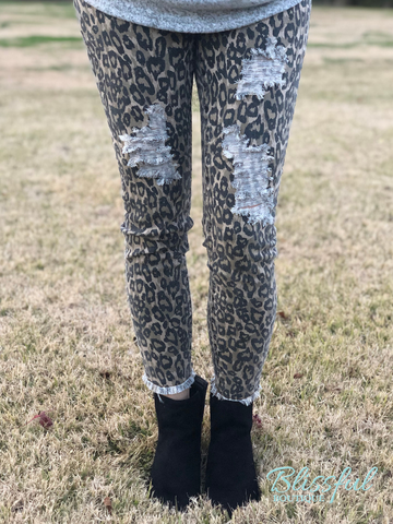 Brown Animal Print Distressed Pants