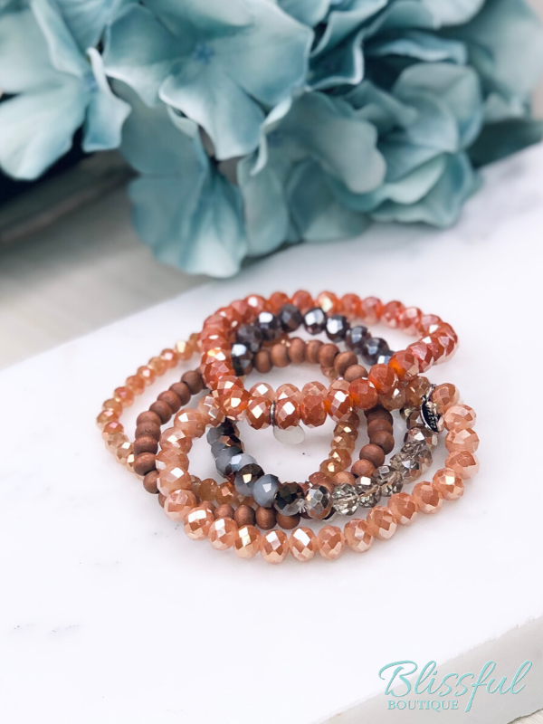 Orange Bracelet Stack Set of 5