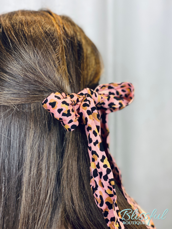 Blush Leopard Bow Scrunchie Hairscarf