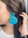 Multicolor Seed Beaded Felt Disc Earrings