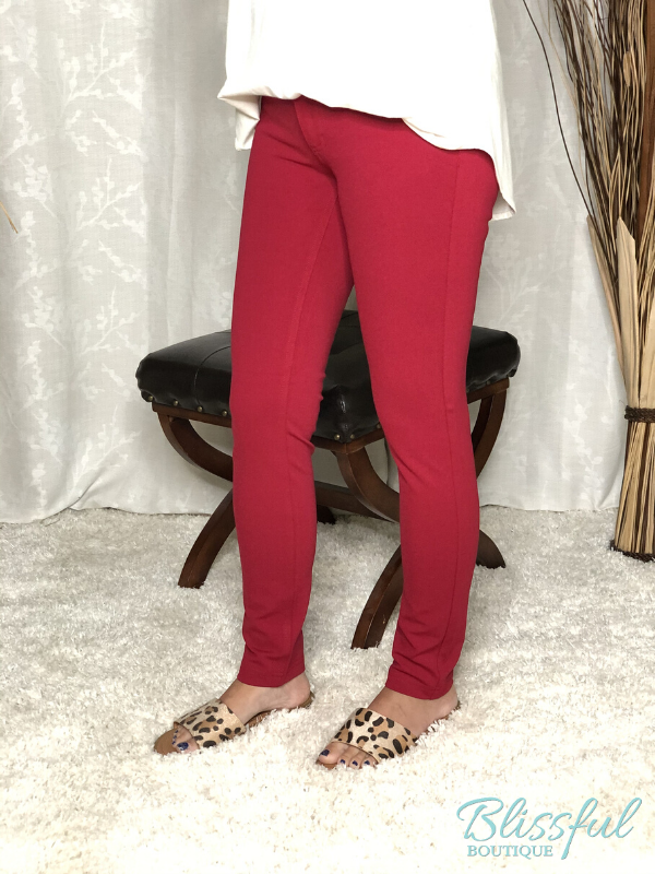 Deep Red Skinny Ponte Pants