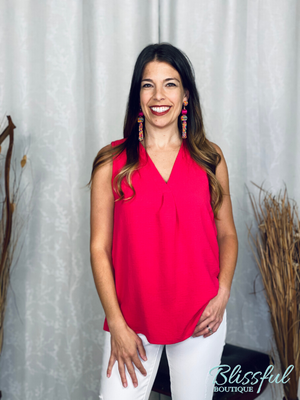 Fuchsia V-Neck Placket Sleeveless Top