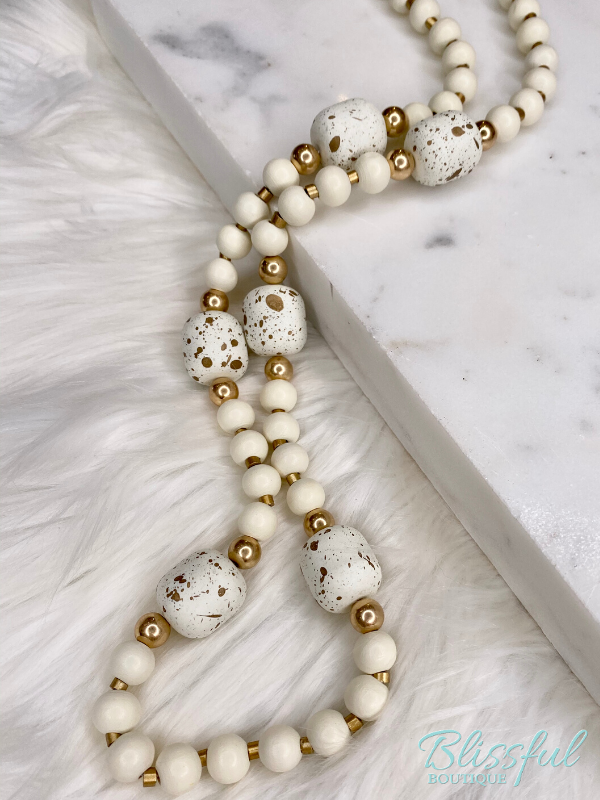 Ivory Wood Ball Necklace
