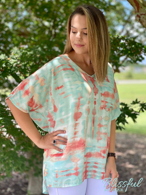 Mint Multi Tie-Dye Boxy Short Sleeve Top