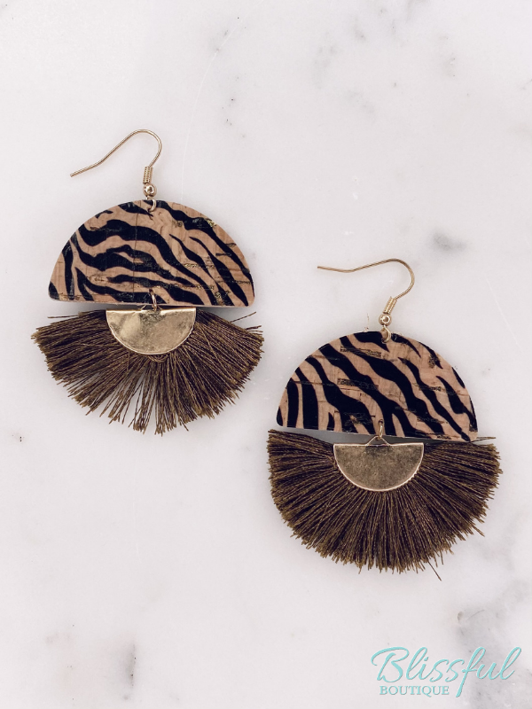 Tiger Cork & Tassel Earrings