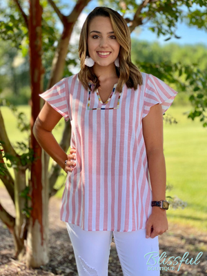 Blush Stripe Embroidered Detail Top