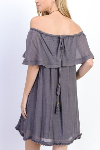 Midnight Off the Shoulder Shift Dress